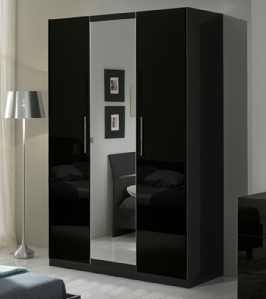 armoire 3 portes gloria noir. Black Bedroom Furniture Sets. Home Design Ideas