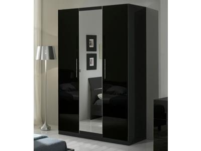 Armoire 3 portes Gloria laquée noir