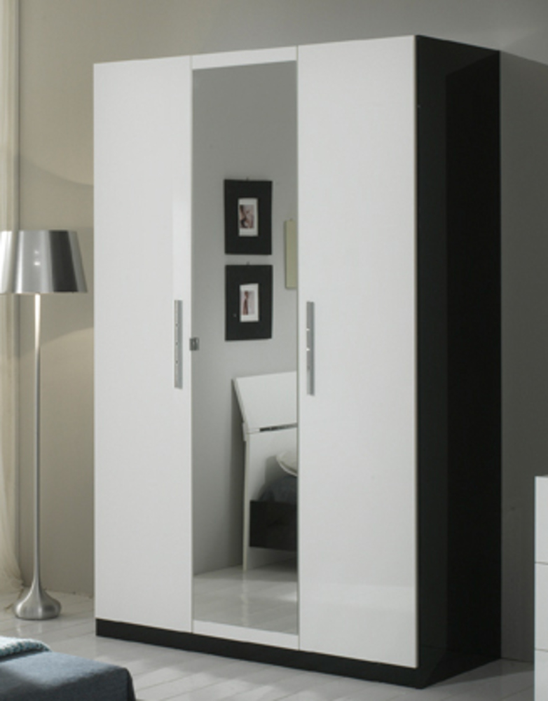 armoire 3 portes gloria noir et blanc noir blanc. Black Bedroom Furniture Sets. Home Design Ideas
