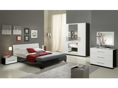 armoire 3 portes gloria laqu e noir et blanc noir blanc. Black Bedroom Furniture Sets. Home Design Ideas