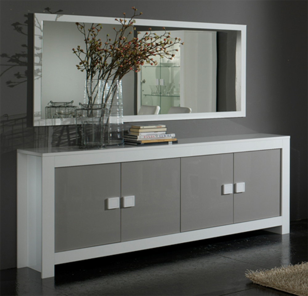 bahut 4 portes pisa laqu e bicolore blanc gris blanc gris. Black Bedroom Furniture Sets. Home Design Ideas