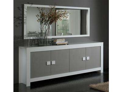 Bahut 4 portes Pisa laquée bicolore  blanc / gris