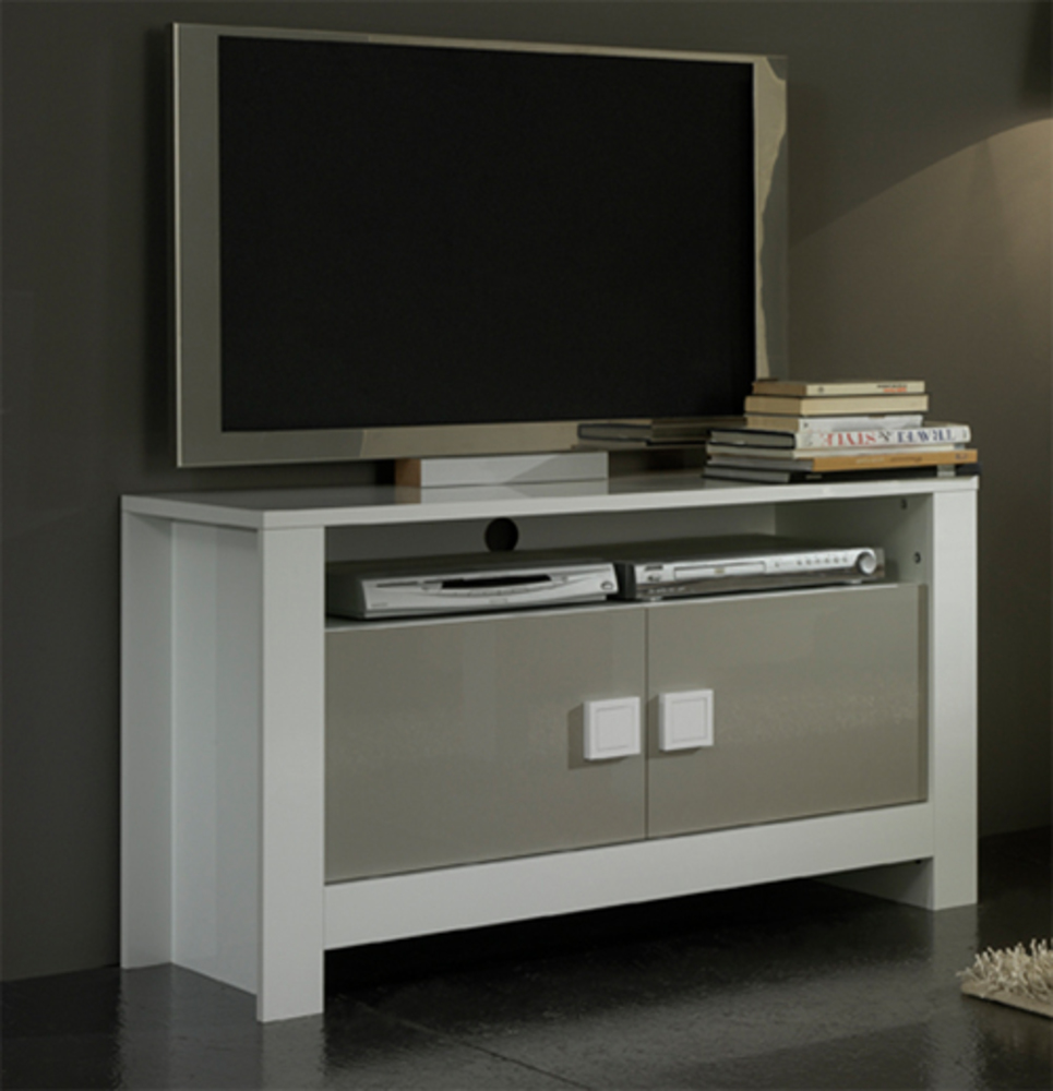 Meuble tv pisa laqu e bicolore blanc gris blanc gris for Meuble tv bas gris