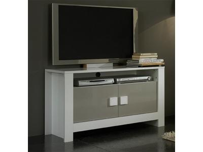 Meuble tv Pisa laquée bicolore  blanc / gris