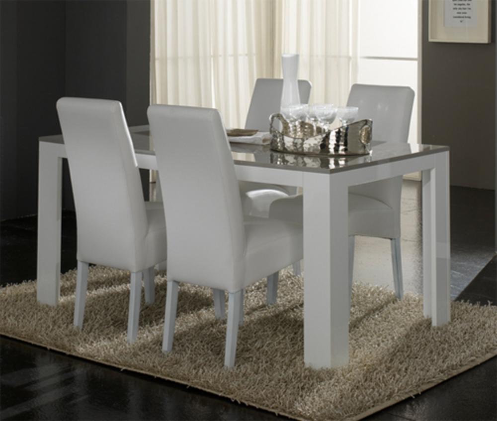 table de repas pisa laqu e bicolore blanc gris blanc gris l 160 x h 77 x p 90. Black Bedroom Furniture Sets. Home Design Ideas
