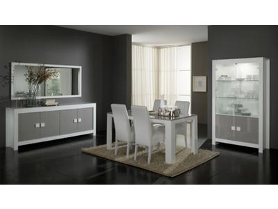 Table de repas Pisa laquee bicolore  blanc / gris