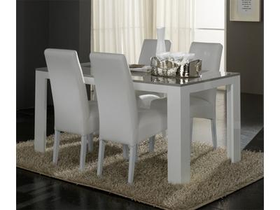 Table de repas Pisa laquée bicolore  blanc / gris