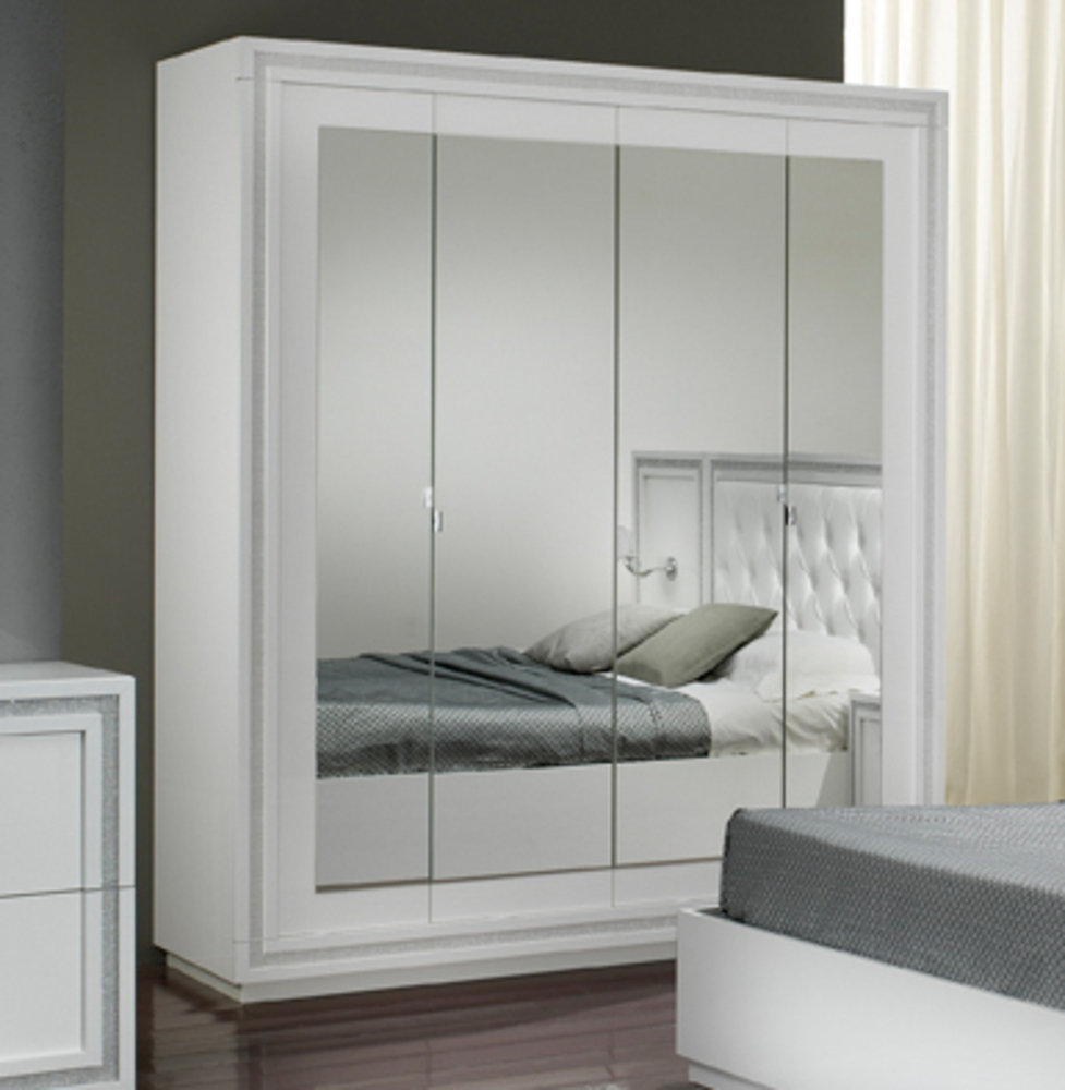 armoire 4 portes krystel laque blanc. Black Bedroom Furniture Sets. Home Design Ideas