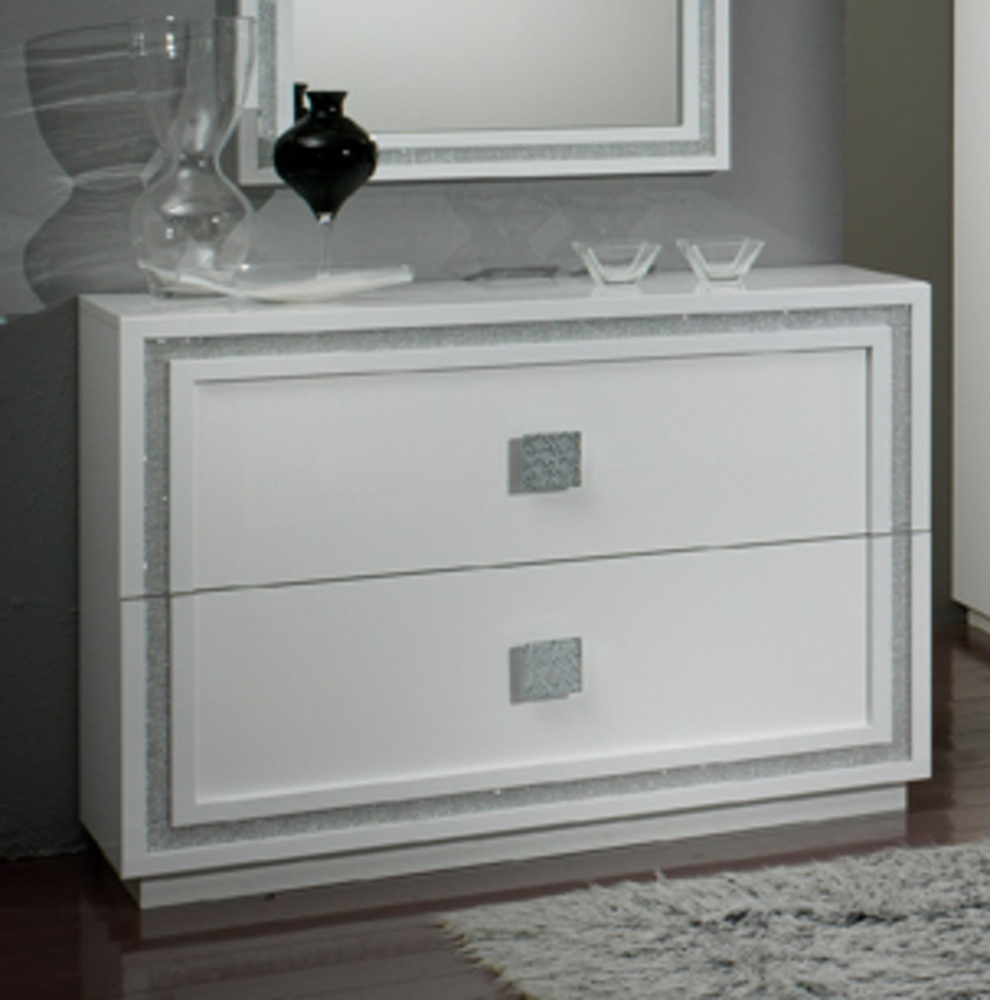commode 2 tiroirs krystel laque blanc blanc. Black Bedroom Furniture Sets. Home Design Ideas
