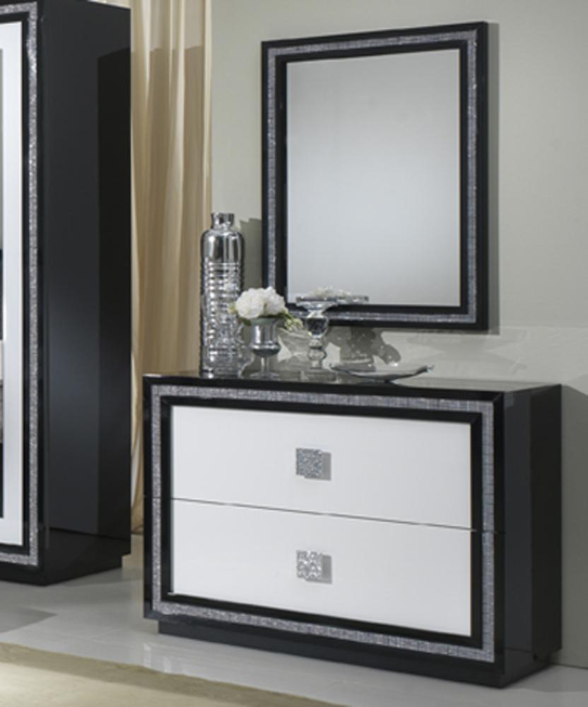 commode 2 tiroirs krystel laque bicolore noir blanc. Black Bedroom Furniture Sets. Home Design Ideas