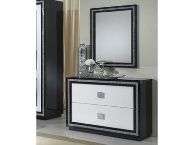 Commode 2 tiroirs Krystel laque bicolore