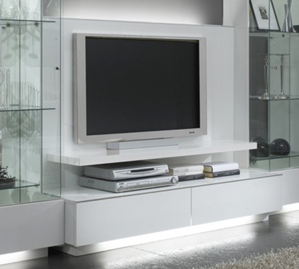 Meuble tv plasma lux laque blanc blanc for Meuble hifi blanc