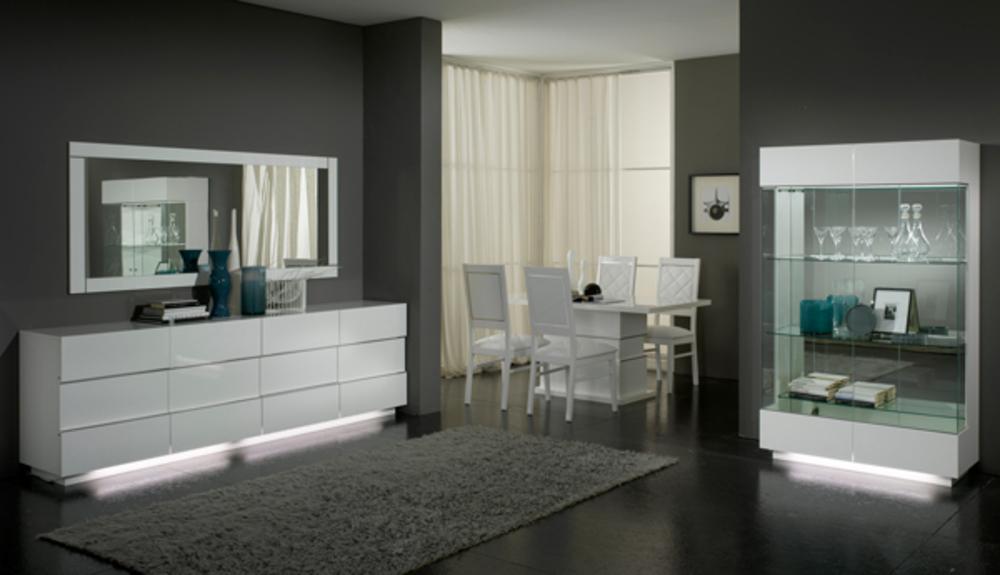 Meuble tv plasma lux laque blanc blanc for Meuble sejour laque blanc