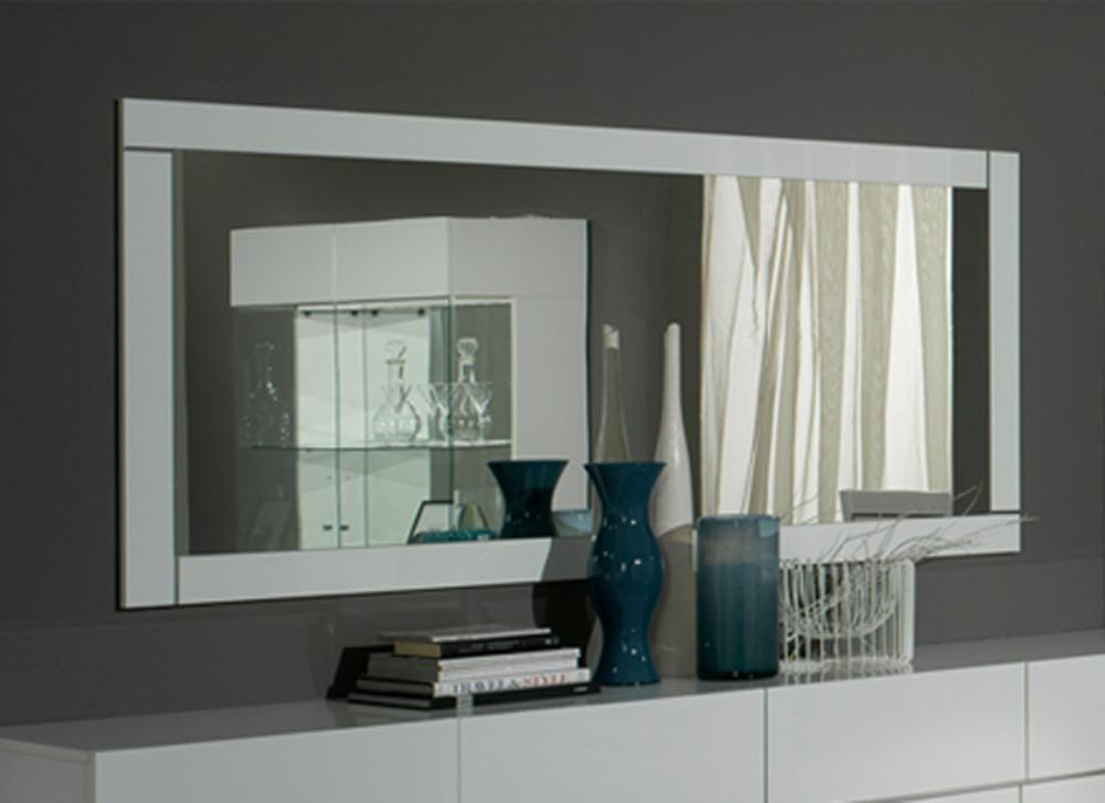 Miroir lux laque blancl 180 x h 85 x p 2 for Miroir blanc laque