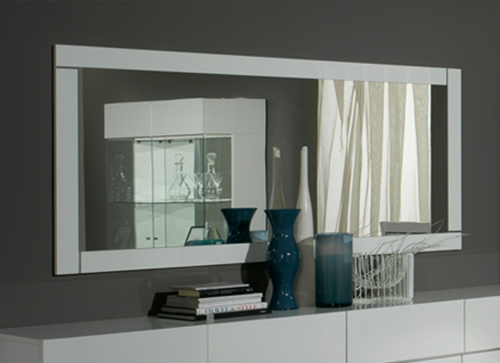 miroir lux laque blanc blanc l 145 x h 85 x p 2. Black Bedroom Furniture Sets. Home Design Ideas