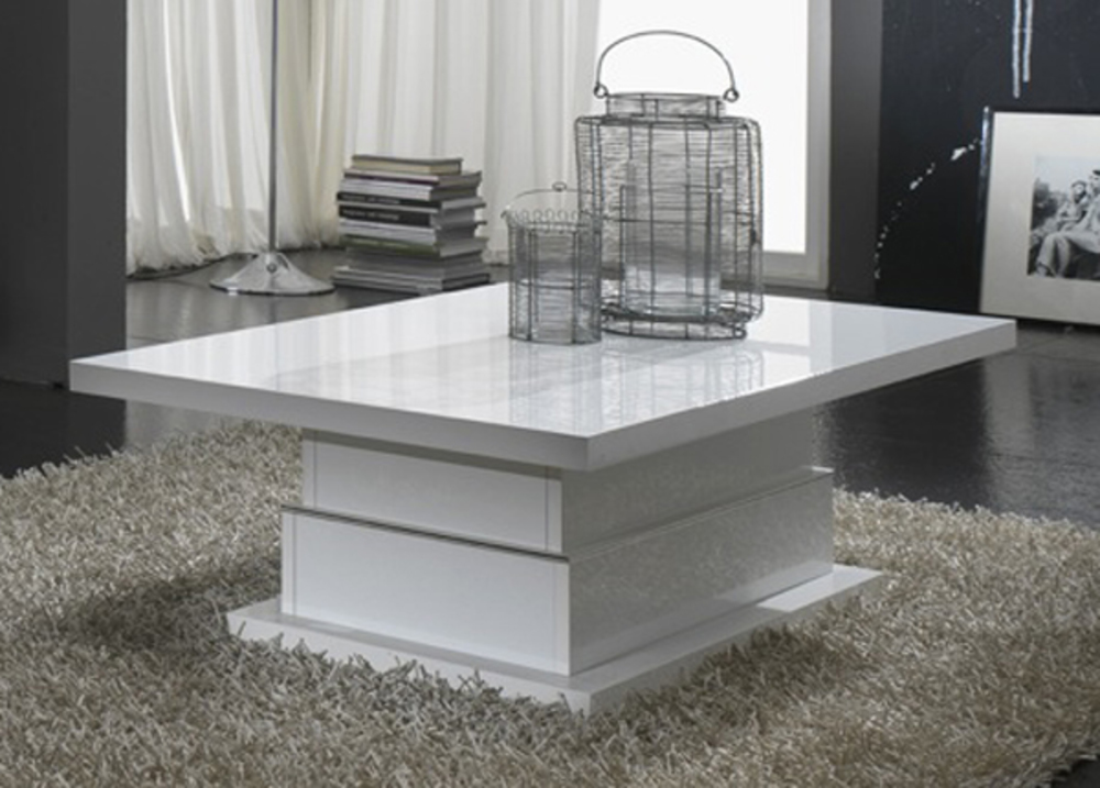 Table basse lux laque blanc blanc - Table basse relevable blanc laque ...