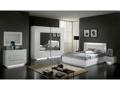 Armoire 2 portes coulissantes City laque blanc chambre à coucher