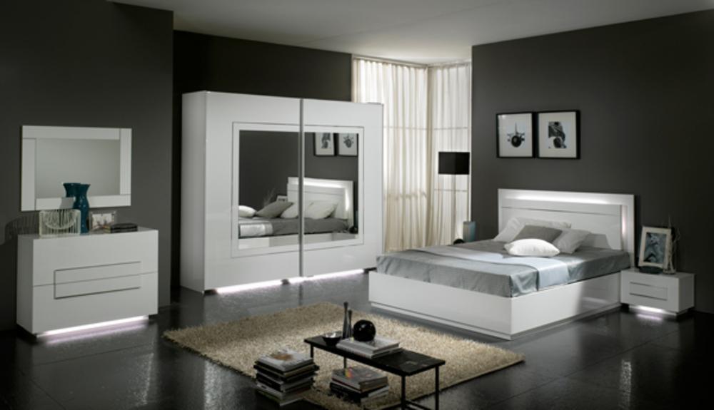 Lit city laque blanc chambre coucher for Ameublement de chambre