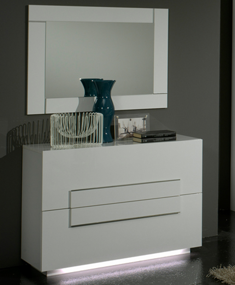 Commode 2 tiroirs city laque blanc chambre coucher blanc - Chambre a coucher conforama blanc laque ...
