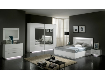 Commode 2 tiroirs City laque blanc chambre À coucher