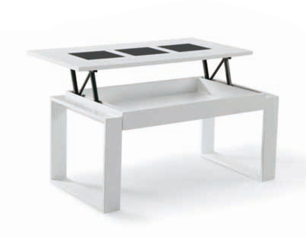 Table basse relevable giorgia blanc - Table de salon plateau relevable ...