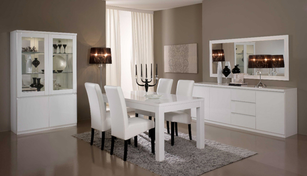 salle a manger complete roma laqu blanc laque blanc. Black Bedroom Furniture Sets. Home Design Ideas
