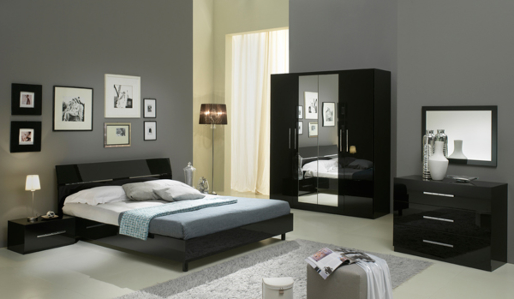 Chambre complete gloria noir noir for Meubles chambre adulte complete