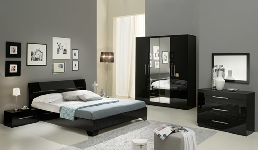 chambre complete gloria laqu e noir. Black Bedroom Furniture Sets. Home Design Ideas