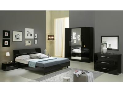 Chambre complete Gloria laquée noir