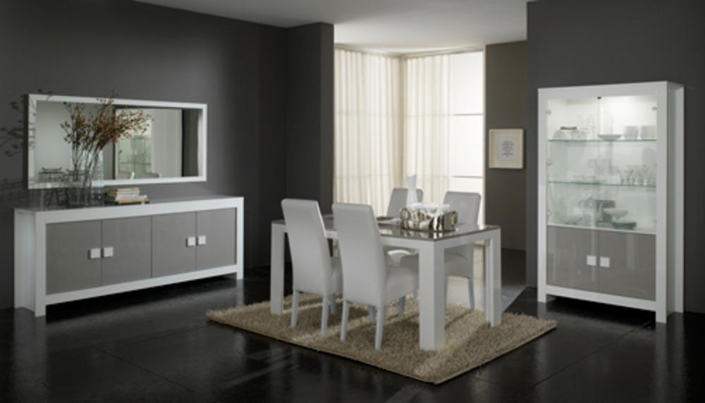 Chaise pisa laquee bicolore blanc gris blanc pied blanc for Interieur gris et blanc