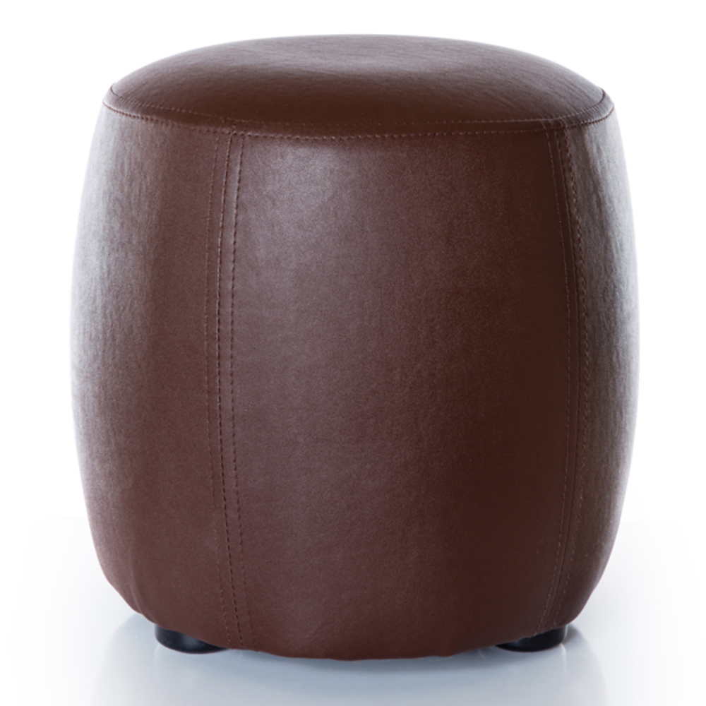 pouf rond round marron. Black Bedroom Furniture Sets. Home Design Ideas