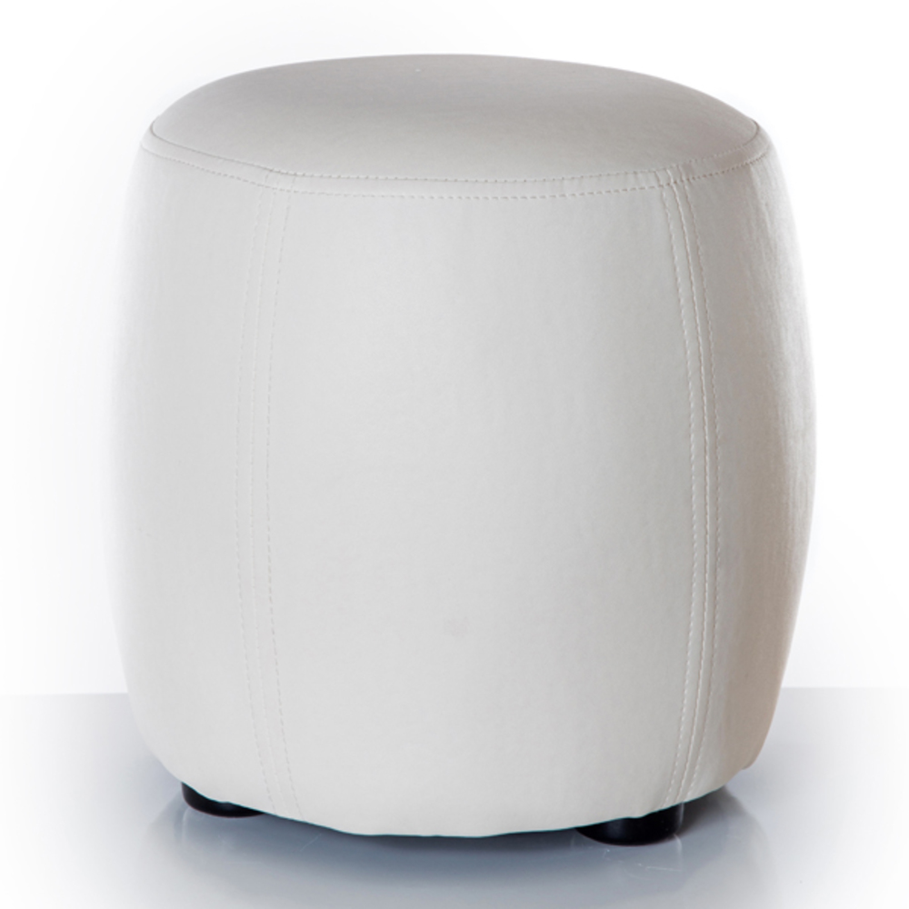 Pouf rond round blanc for Petit meuble rond