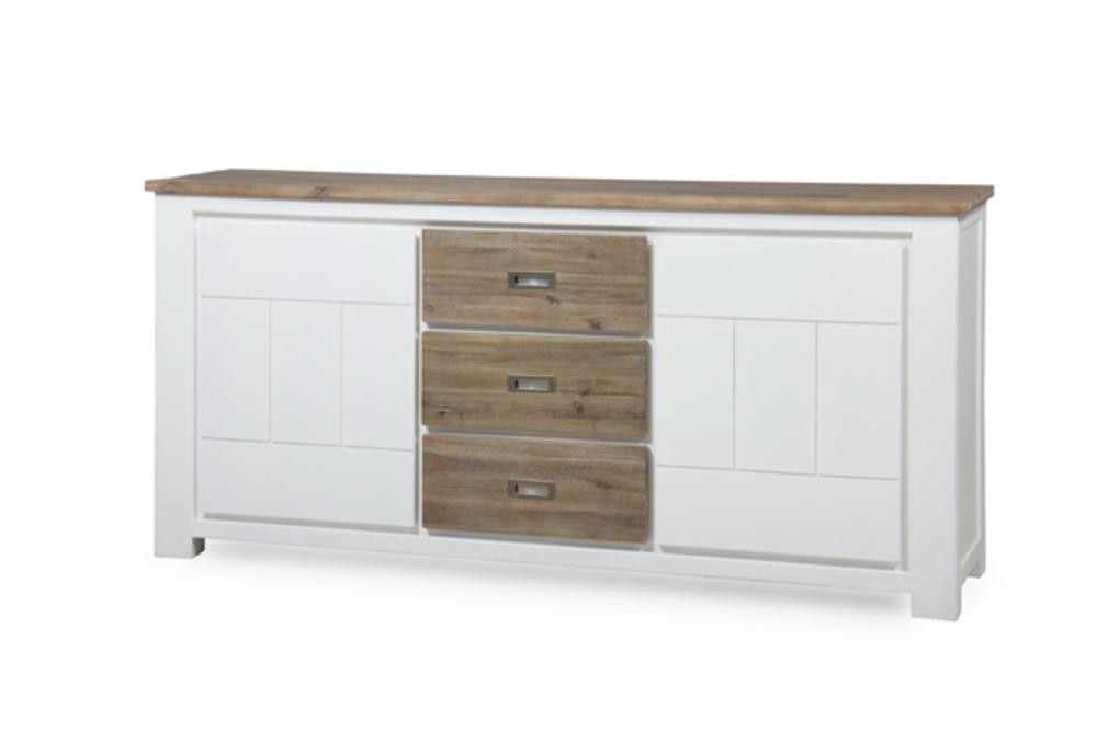 Bahut 2 portes 3 tiroirs grand modele white horse blanc for Bahut 3 portes 3 tiroirs