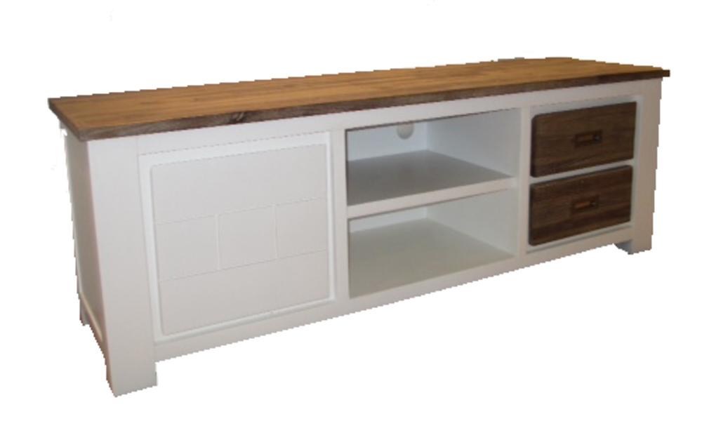 White horse s jours meubles tv hifi meuble tv blanc for Basika meuble tv