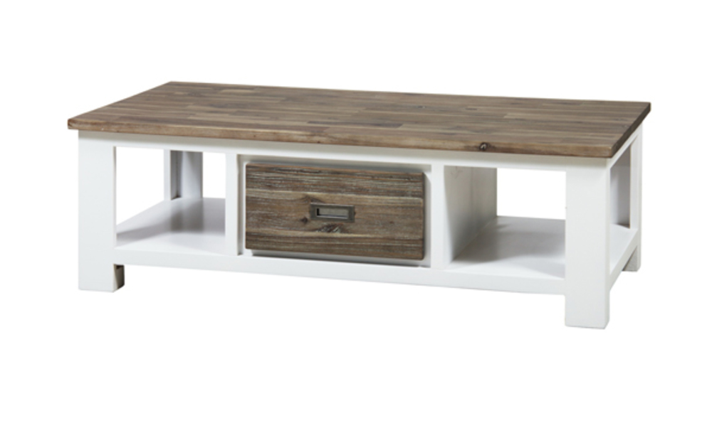 Table basse 2 tiroirs white horse blanc acacia for Table basse acacia massif