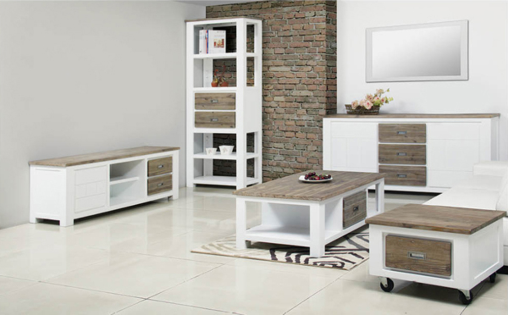 Table basse 2 tiroirs white horse blanc acacia for Ensemble salon table basse meuble tv
