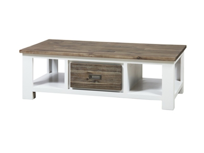 Table basse 2 tiroirs White horse