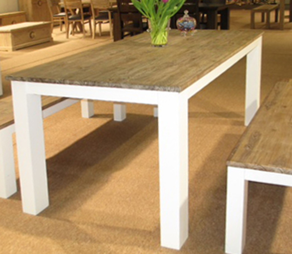 Table repas avec allonge white horse blanc acacia for Table bois rectangulaire avec allonges