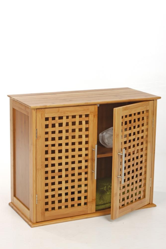 Meuble 2 portes bambou for Meuble salle de bain porte persienne
