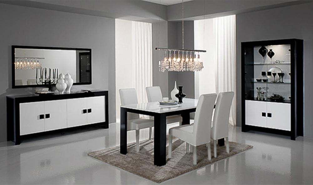 Salle a manger complete pisa laqu e bicolore noir blanc for Salle a manger blanche et grise