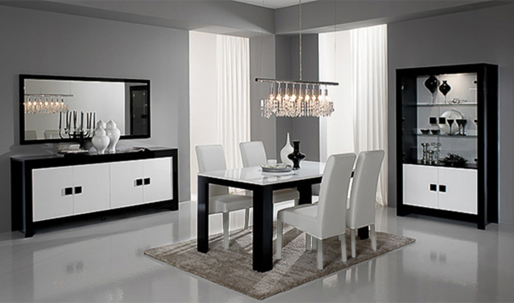 salle a manger complete pisa laquee bicolore noir blanc noir blanc. Black Bedroom Furniture Sets. Home Design Ideas