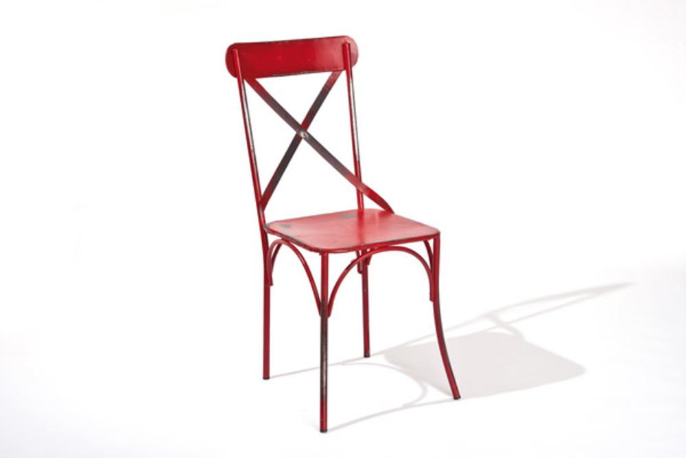Lot 2 de chaises bistro rouge for Meuble salle À manger avec chaise rouge