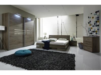 Armoire 2 portes coulissantes Anna chambre à coucher imitation chene