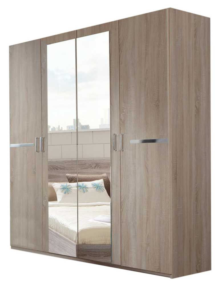 Armoire 4 portes anna chambre coucher imitation chene for Armoire chambre adulte but