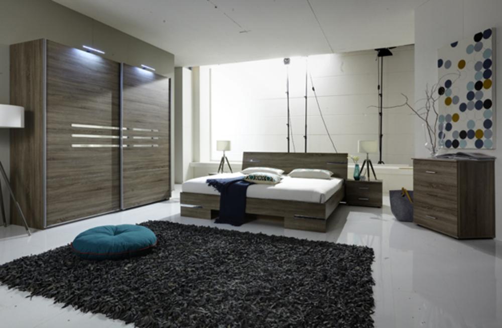 Armoire 4 portes anna chambre coucher imitation chene for Ensemble armoire commode chambre