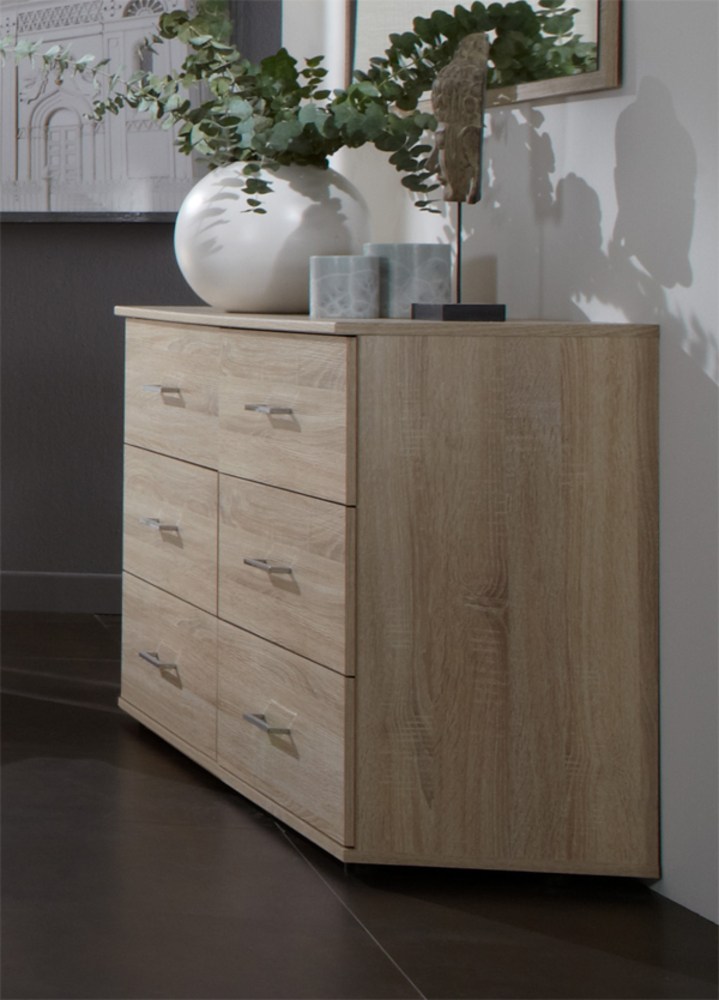 Commode 6 tiroirs anna chambre coucher imitation chene chene - Meuble commode chambre ...
