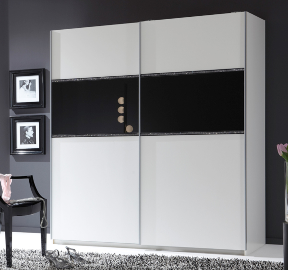 armoire 2 portes coulissantes blitz noir l 135 x h 198 x p 64. Black Bedroom Furniture Sets. Home Design Ideas