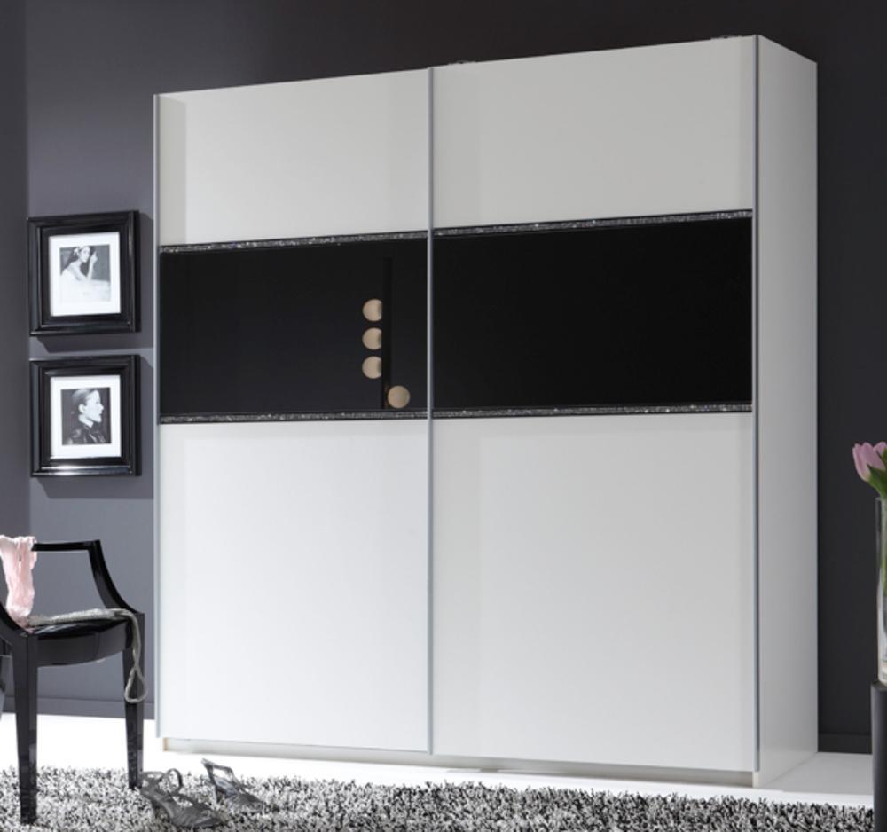 armoire 2 portes coulissantes blitz noir l 179 x h 198 x p 64. Black Bedroom Furniture Sets. Home Design Ideas