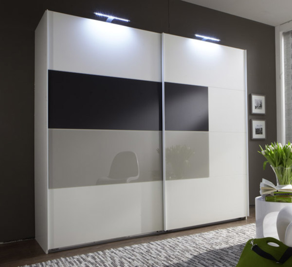 armoire 2 portes coulissantes quattro blanc. Black Bedroom Furniture Sets. Home Design Ideas