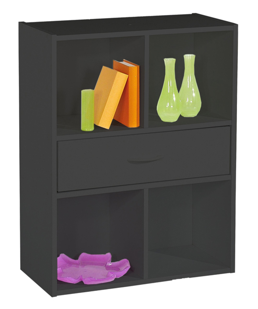 rangement 4 cases 1 tiroir compo 10 noir. Black Bedroom Furniture Sets. Home Design Ideas